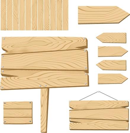 appendere: set di cartello e di oggetti in legno isolato su sfondo bianco, utile per molte applicazioni, in formato molto facile da modificare, singoli oggetti Vettoriali