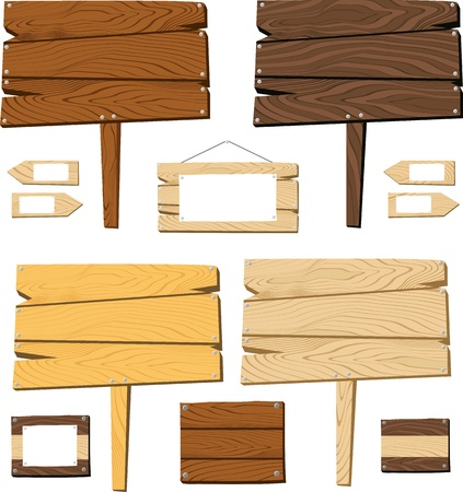 set of signboards and wooden objects isolated on white background, useful for many applications, in format very easy to edit, individual objects