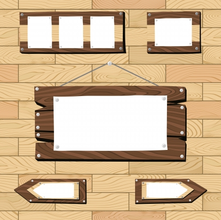 flooring: set of signboards and wooden objects on on seamless flooring pattern, useful for many applications, in vector format very easy to editplace the background design side-by-side to create an endless pattern Illustration