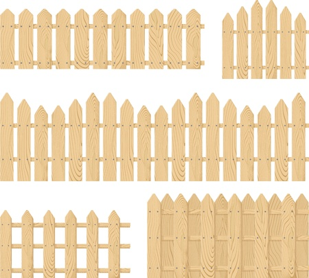 wooden fence vector set isolated on white background, place the design side-by-side to create an endless border Ilustração
