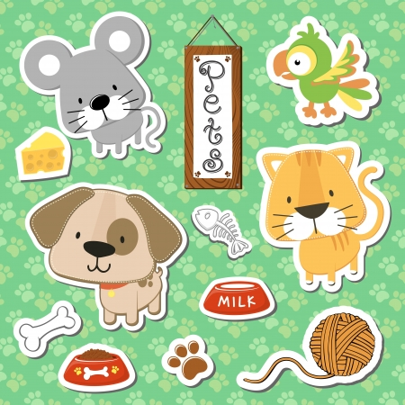 set of cute baby animals stickers on seamless pattern background, in format very easy to edit, individual objects Çizim