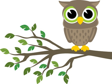 little cute owl sitting on a branch isolated on white background, format very easy to edit, individual objects Illustration