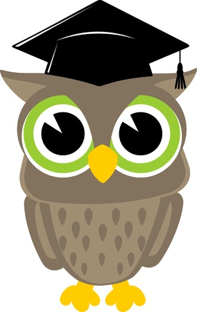 cute baby owl cartoon wearing a mortarboard isolsted on white background Ilustrace