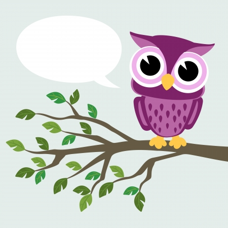 cute baby owl sitting on a branch with text balloon Vectores