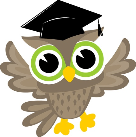 owl cartoon: happy baby owl cartoon wearing a mortarboard isolsted on white background