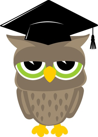 owl cartoon: relaxed baby owl cartoon wearing a mortarboard isolsted on white background