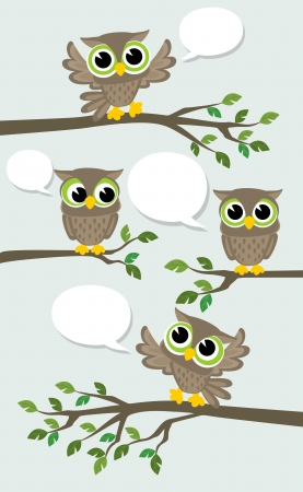 illustration of four cute owls meeting with text balloons Stock Illustratie