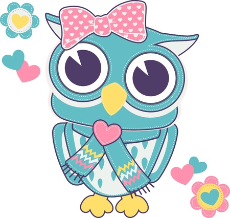 cute baby owl girl with backstitch isolated on white background Illustration