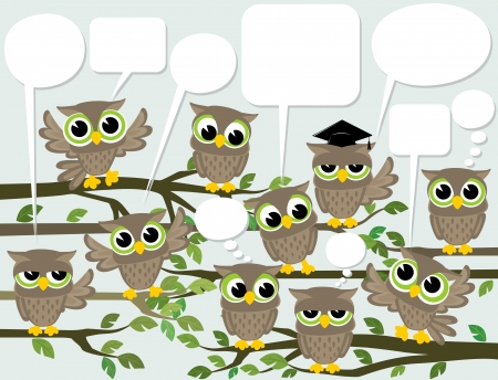 illustration of many cute owls meeting with text balloons