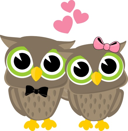 cute owls in love isolated on white background Illustration