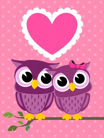 cute owls couple with love heart, in vector format very easy to edit, individual objects Illustration