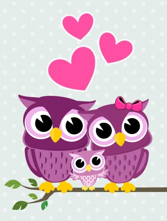 cute owls couple with baby owl sitting on a branch