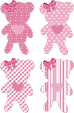 set of four cute teddy bear applique in pink for baby girls, in vector format very easy to edit, individual objects Vettoriali