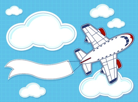 illustration of funny airplane with blank banner on blue background and clouds