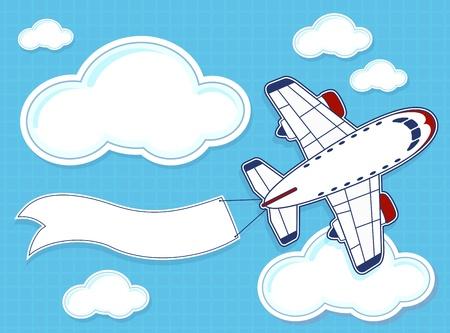 파란색 배경과 구름에 빈 배너와 함께 재미있는 비행기의 그림