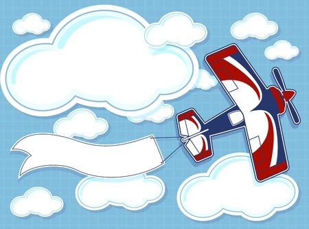 avion caricatura: aeroplano de la historieta divertida con la bandera en blanco sobre fondo azul y las nubes Vectores