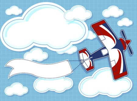 funny airplane cartoon with blank banner on blue background and clouds Çizim