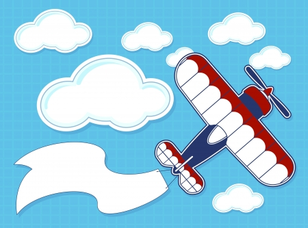 funny airplane cartoon with blank banner on blue background and clouds Vector