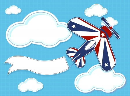 funny acrobatic airplane cartoon with blank banner on blue background and clouds