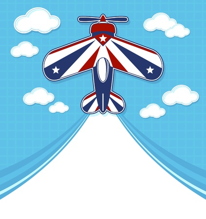 contrail: funny acrobatic airplane cartoon with blank contrail for copy space on blue background and clouds