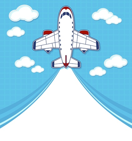 commercial airplane: funny commercial airplane cartoon with blank contrail for copy space on blue background and clouds Illustration