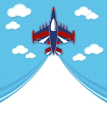 grappige acrobatische jet cartoon met lege contrail voor kopie ruimte op blauwe achtergrond en wolken Stock Illustratie