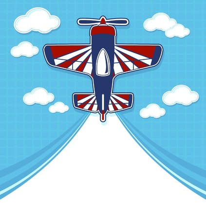 funny airplane cartoon with blank contrail for copy space on blue background and clouds Vector