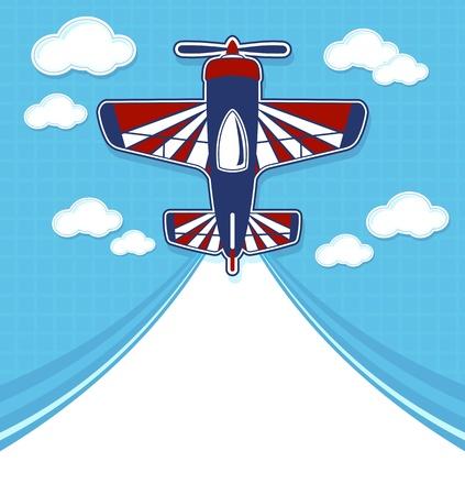 grappige vliegtuig cartoon met lege contrail voor kopie ruimte op blauwe achtergrond en wolken Stock Illustratie