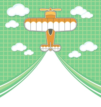 graphic illustration: funny airplane cartoon with blank contrail for copy space on green background and clouds Illustration