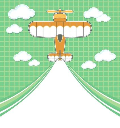 grappige vliegtuig cartoon met lege contrail voor kopie ruimte op groene achtergrond en wolken