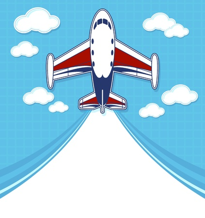 private jet: funny private airplane cartoon with blank contrail for copy space on blue background and clouds