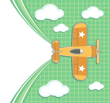 funny airplane toy cartoon with blank contrail for copy space on green background and clouds