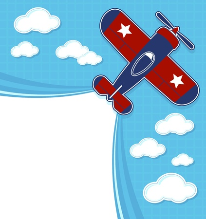 toy: funny airplane cartoon with blank contrail for copy space on blue background and clouds