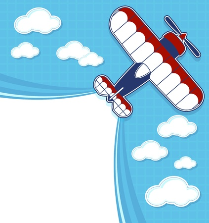 contrail: funny biplane cartoon with blank contrail for copy space on blue background and clouds Illustration