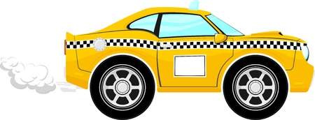 taxi car cartoon isolated on white background, only solid colors, no gradients Ilustração