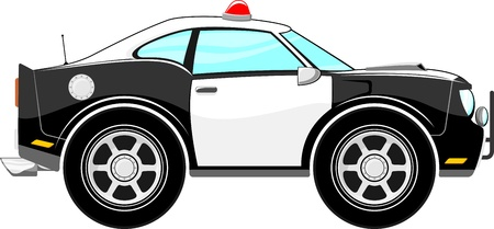 car isolated: police car cartoon isolated on white background