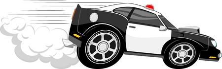 snelle politiewagen cartoon geïsoleerd op een witte achtergrond