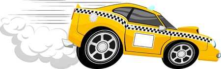 car speed: funny fast taxi car cartoon isolated on white background Illustration