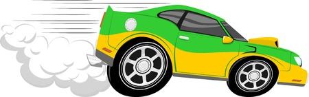 흰색 배경에 고립 된 자동차 경주 만화 일러스트