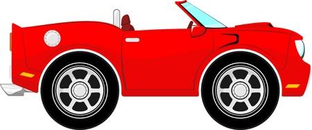 convertible car: divertido coche descapotable de color rojo aisladas sobre fondo blanco Vectores