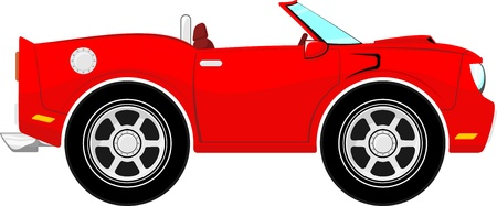 convertible car: funny red convertible car isolated on white background
