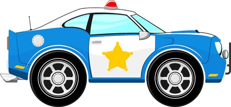 police car: funny blue police car cartoon isolated on white background Illustration
