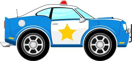 grappige blauwe politiewagen cartoon geïsoleerd op een witte achtergrond
