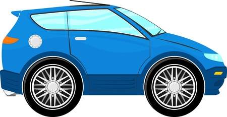 car side view: funny blue car cartoon isolated on white background Illustration