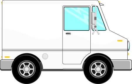 illustration of small cargo truck with copy space for your logo or text, isolated on white background Illustration