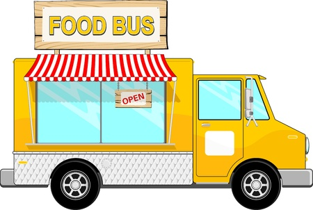 food: illustration of food bus with awning and sign board isolated on white background, copy space for your logo, text or message Illustration