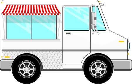 food: small food bus with awning isolated on white background, copy space for your logo, text or message