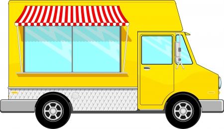 logo de comida: bus alimento amarillo con toldo aislados en fondo blanco, copia espacio para el logo, mensaje de texto o Vectores