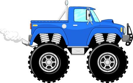 camion caricatura: monster truck 4x4 dibujos animados aislado en el fondo blanco