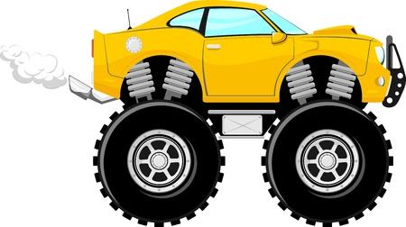 흰색 배경에 고립 괴물 자동차 스포츠 4 x 4 만화